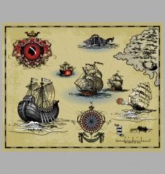 antique map elements vector image vector image