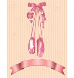 ballet slippers on stripe background vector image