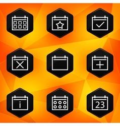 Calenadar Hexagonal icons set on abstract orange vector image vector image