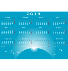 Calendar 2014 start Monday vector image