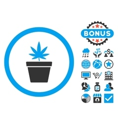 Cannabis Pot Flat Icon with Bonus vector image vector image
