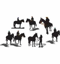 seven horse silhouettes vector image vector image