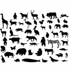 animal silhouettes set vector image vector image