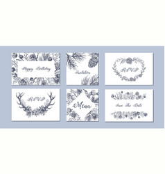 set of hand drawn winter seasonal backgrounds vector image