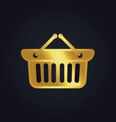 Shopping cart basket buy gold logo vector