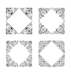 Vintage style square frames collection vector