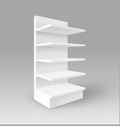 white exhibition stand shop rack with shelves vector image vector image