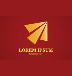 gold triangle arrow shape company logo vector image