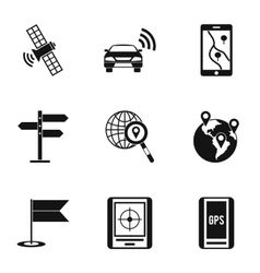 Search territory icons set simple style vector