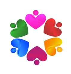 Teamwork voluntary hearts logo vector image
