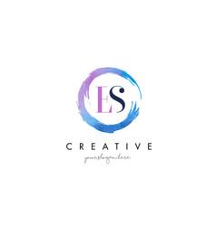 es letter logo circular purple splash brush vector image