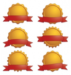 gold seals with banners vector image vector image