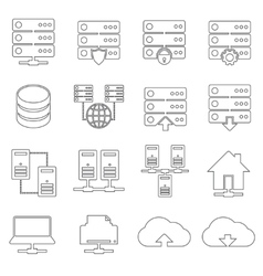 Hosting Network Icons vector image
