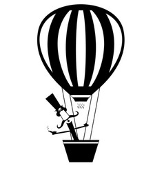 mustache man with cigar flies on the air balloon vector image