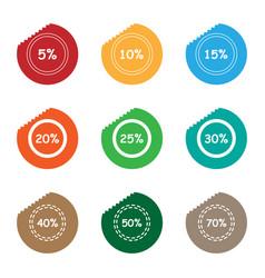percent sale tear sticker label set vector image