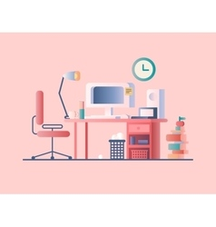 Workplace design flat vector image