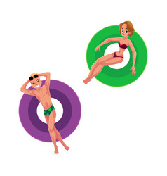 Young man boy and woman girl floating on vector