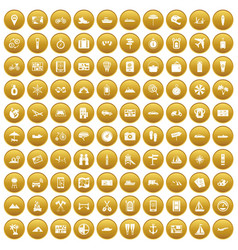100 travel icons set gold vector