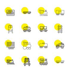 16 train icons vector image