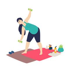 A pregnant woman doing gymnastics flat cartoon vector