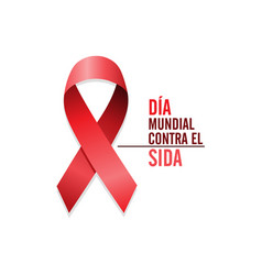 aids awareness red ribbon spanish world aids day vector image