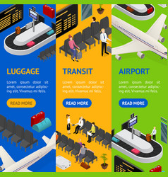 Airport zone luggage transit banner vecrtical set vector