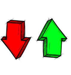 arrows red and green up and down signs hand vector image