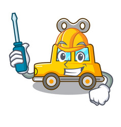 Automotive clockwork toy car isolated on mascot vector