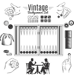 Backgammon Vintage Style Elements Set vector image