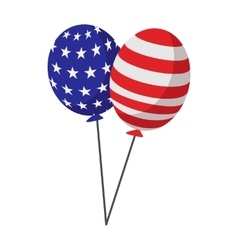 Balloons in usa flag colors cartoon icon vector