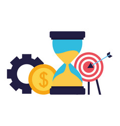 business target hourglass coin gear vector image