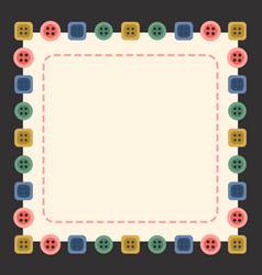 Buttons and stitches frames sewing vector