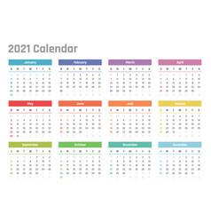 Calendar for 2021 starts sunday vector