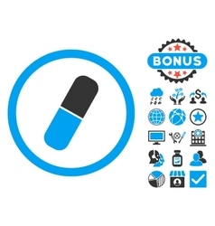 Capsule Flat Icon with Bonus vector image
