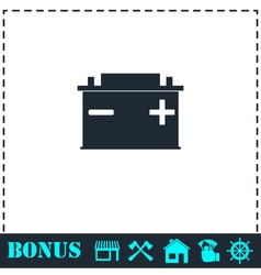Car Battery icon flat vector image vector image