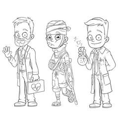 Cartoon doctor patient scientist character set vector