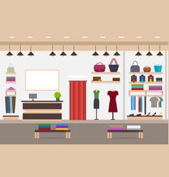 Cartoon fashion shop interior with furniture card vector
