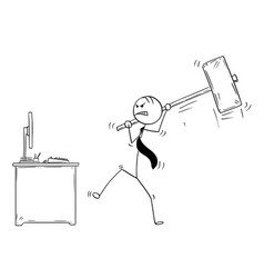 Cartoon of angry businessman ready to destroy vector