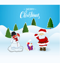 christmas card santa clausbunny and snowman vector image