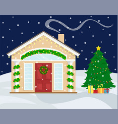 Christmas house with new year decoration vector