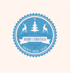 Christmas round emblem vector