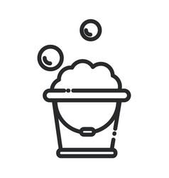 cleaning plastic bucket foam bubbles soap vector image