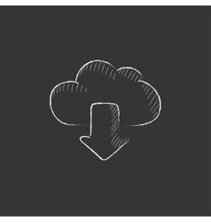 Cloud with arrow down Drawn in chalk icon vector