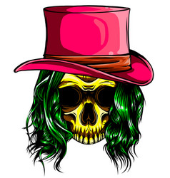 color woman skull pimp design vector image