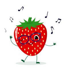Cute strawberry cartoon character in glasses vector