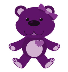 Cute teddy bear in purple color on white vector