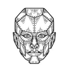 Cyborg human iron face sketch engraving vector