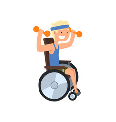 Disabled man in wheelchair exercising with vector