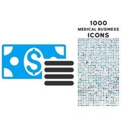 Dollar Cash Icon with 1000 Medical Business Icons vector image