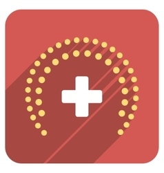 Dotted health care protection flat rounded square vector